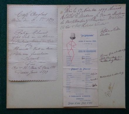 Antique Menus Paris Grand Duchess Anastasia Romanov Russia Mecklenberg 1899